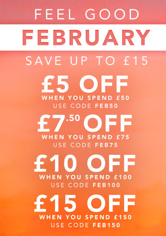 Feel Good February Discount Codes - Up to £15 off