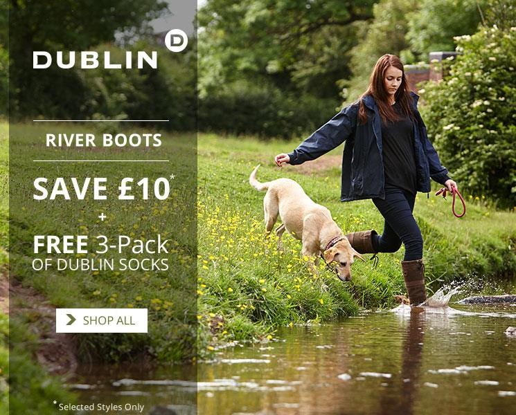Dublin River Boots - Free 3-Pack of Socks. £10 off selected styles.