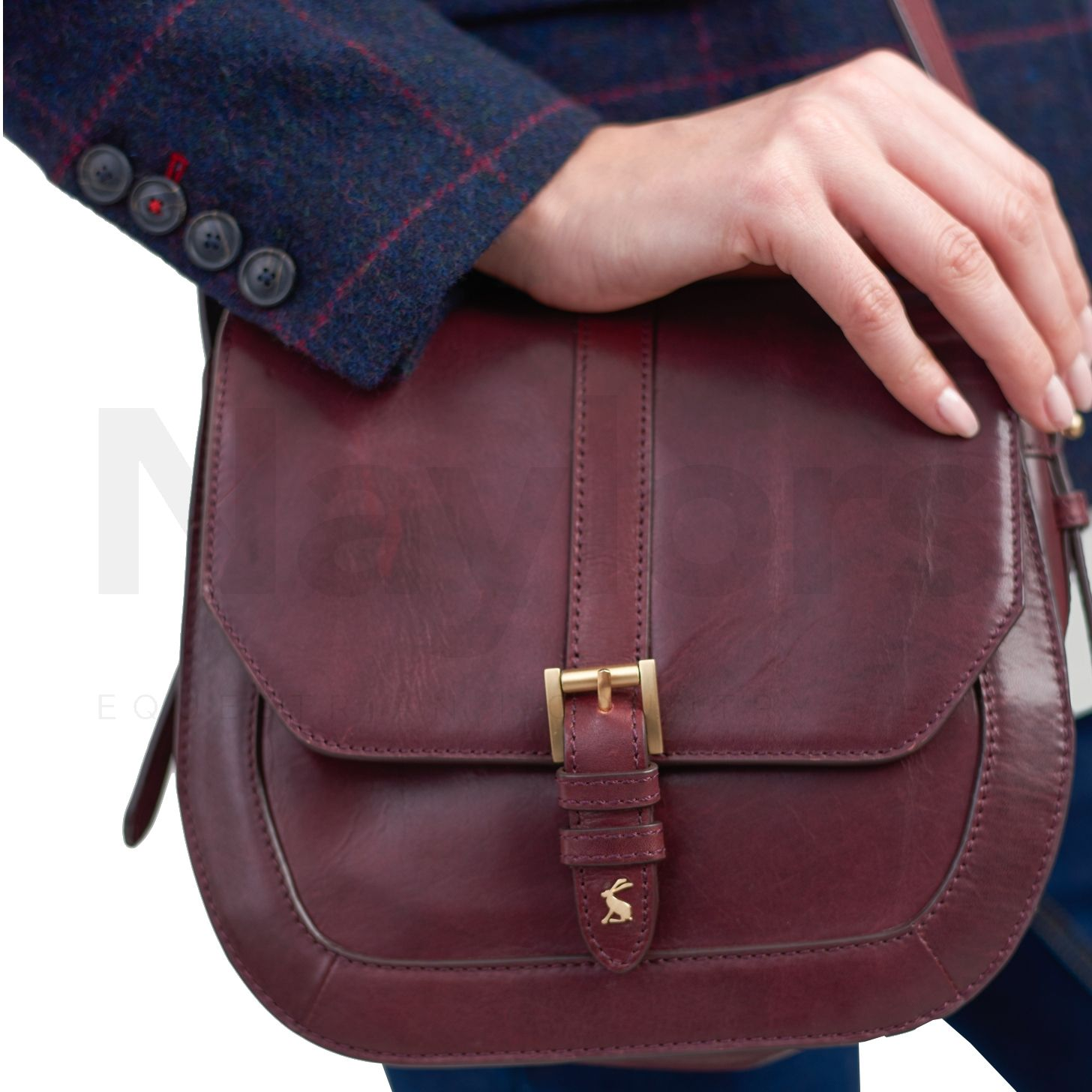 51c5bf1bb503 Joules Ladies Leather Cross Body Saddle Bag Oxblood | Naylors.com